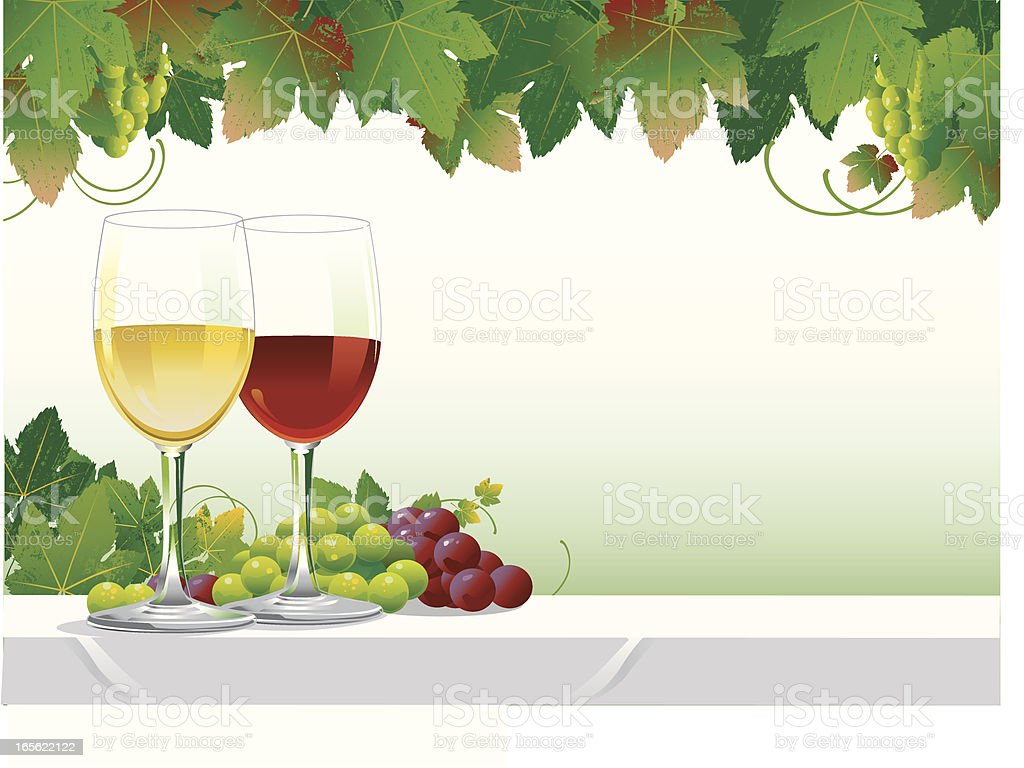 Glasses of Wine vector art illustration