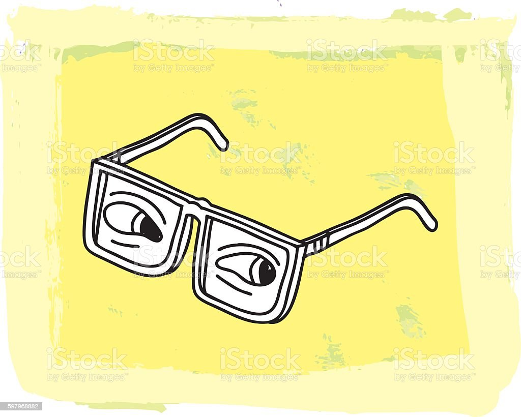Glasses on a Painted Background vector art illustration