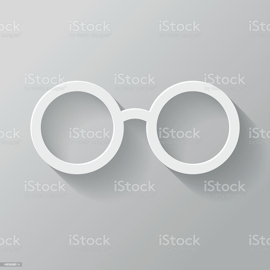 Glasses Paper Thin Line Interface Icon With Long Shadow vector art illustration