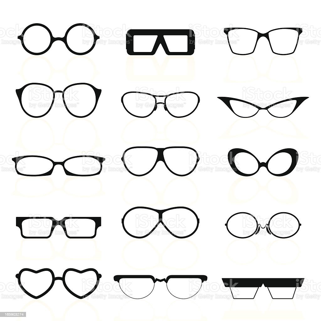 Glasses Silhouettes vector art illustration