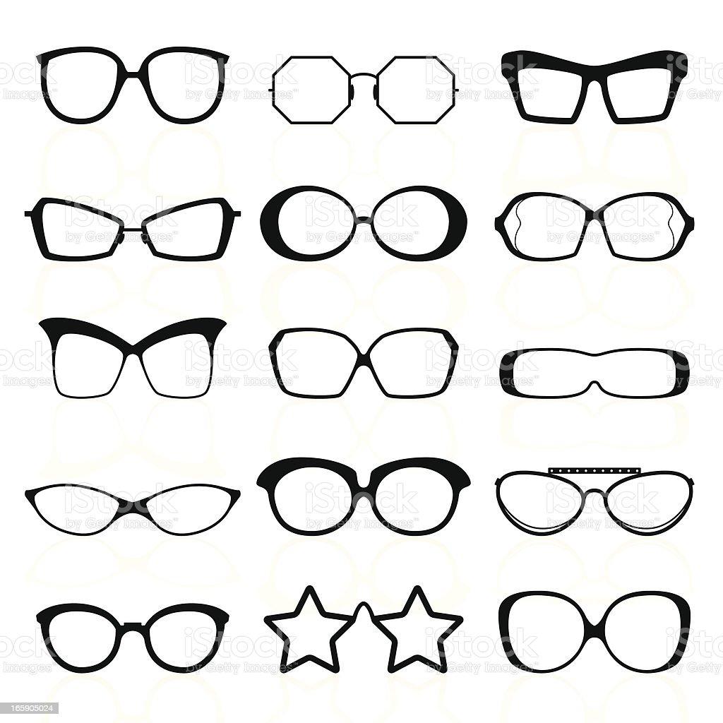 Glasses Silhouettes vector art illustration
