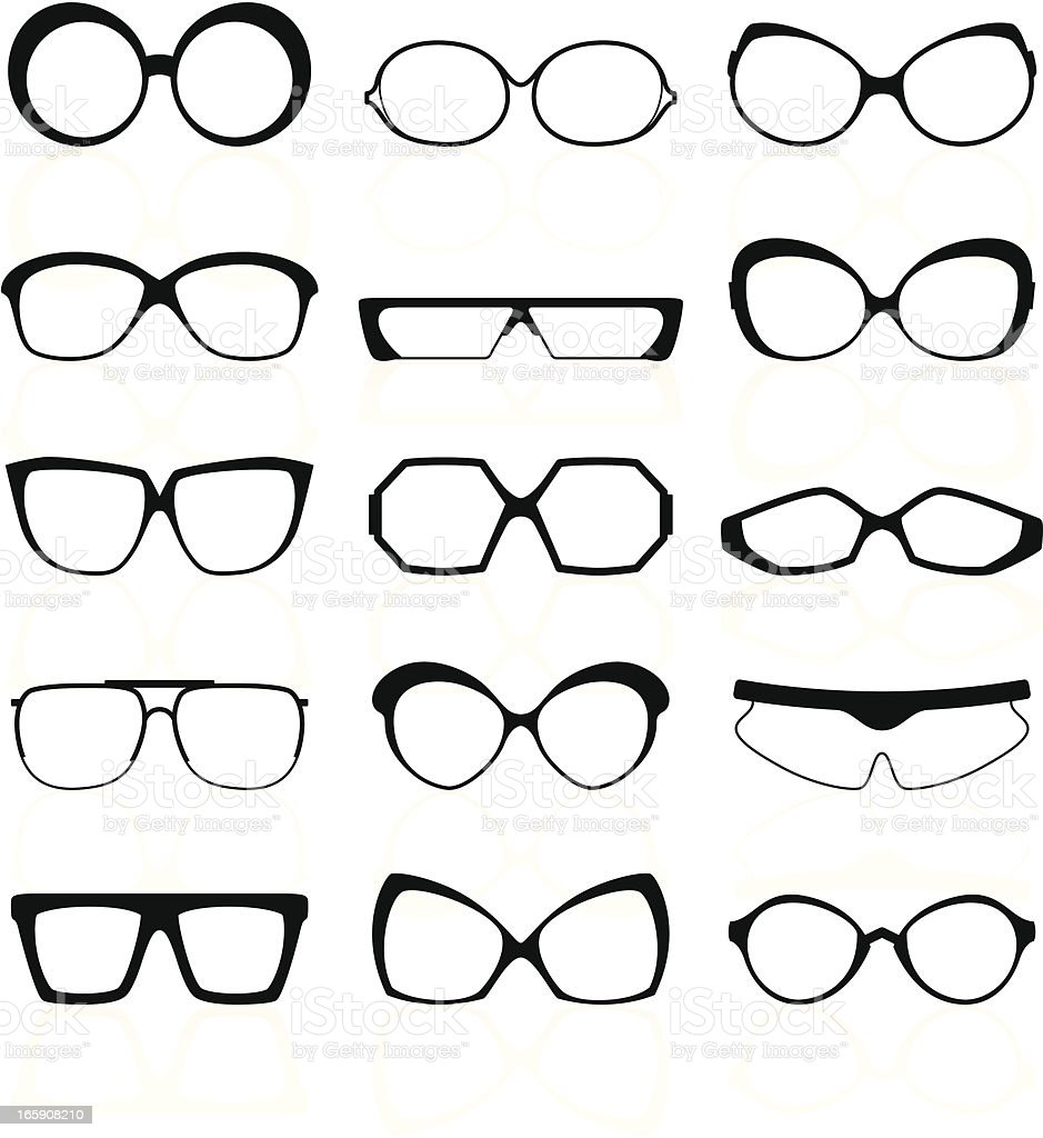 Glasses Silhouettes royalty-free stock vector art
