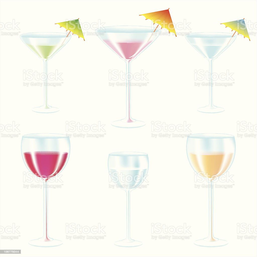 Glasses with drinks and cocktail umbrellas set vector art illustration