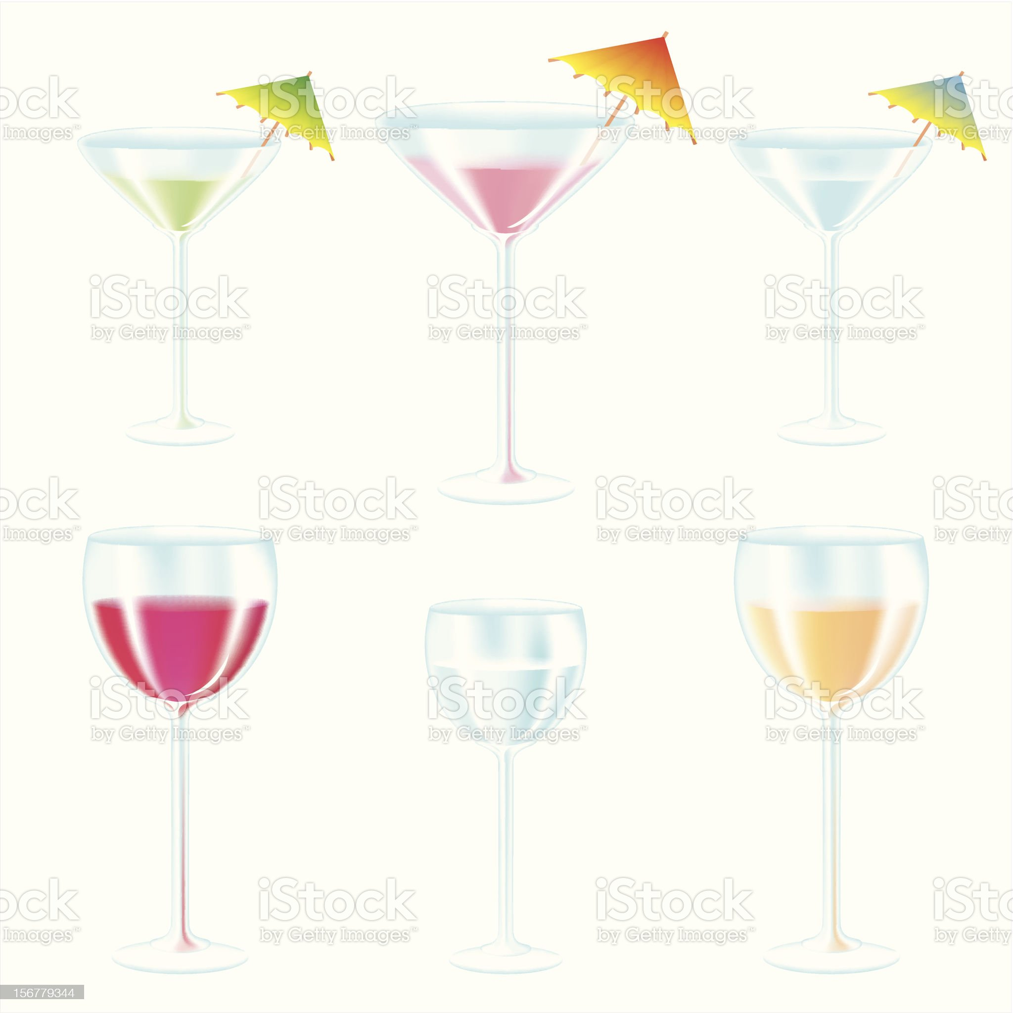 Glasses with drinks and cocktail umbrellas set royalty-free stock vector art