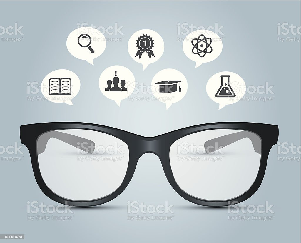 Glasses with education icons royalty-free stock vector art