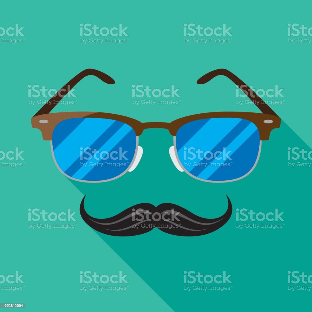 Glasses with Mustache Icon Flat vector art illustration