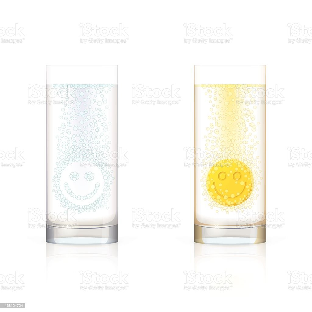 Glasses with smiling faces vector art illustration