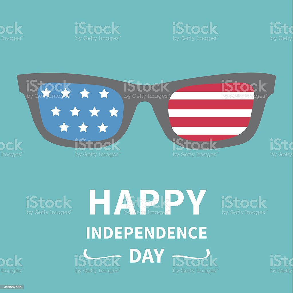 Glasses with stars and strips. Independence day US of America. vector art illustration