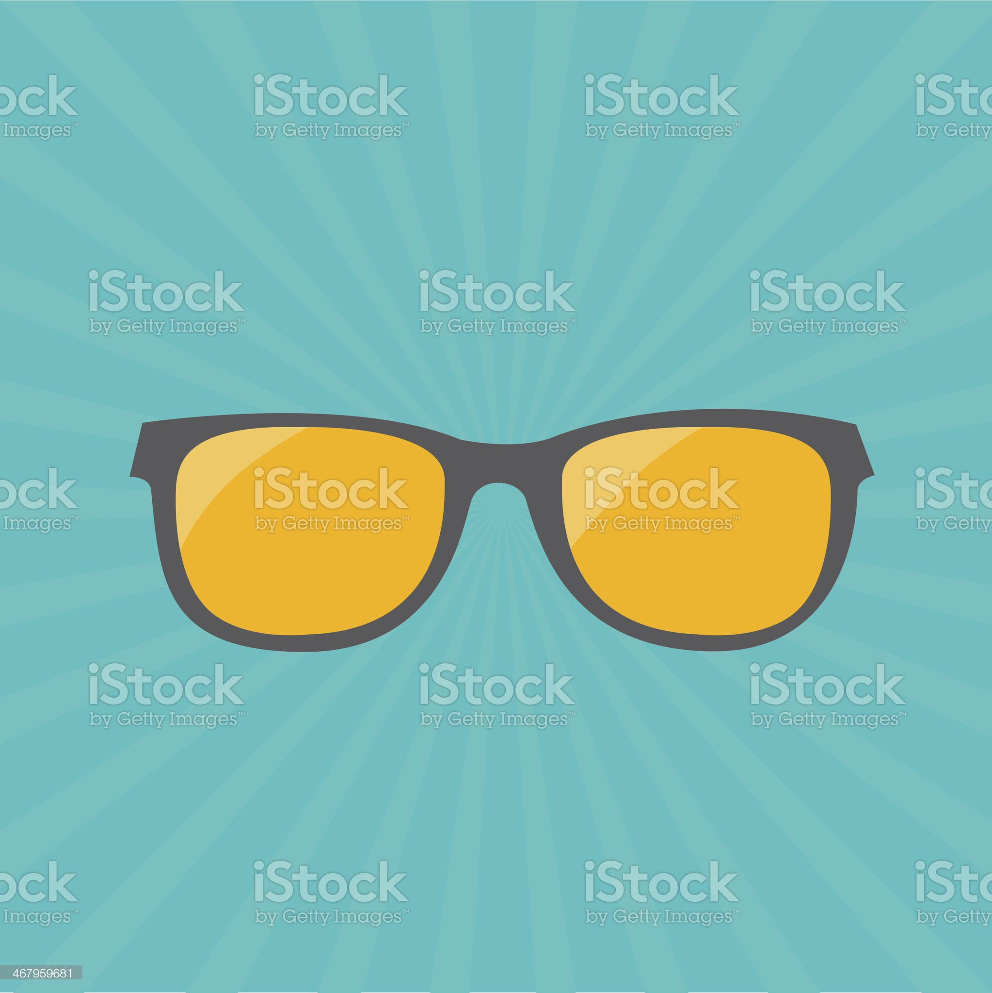 Glasses with yellow lens. Sunburst background. royalty-free stock vector art