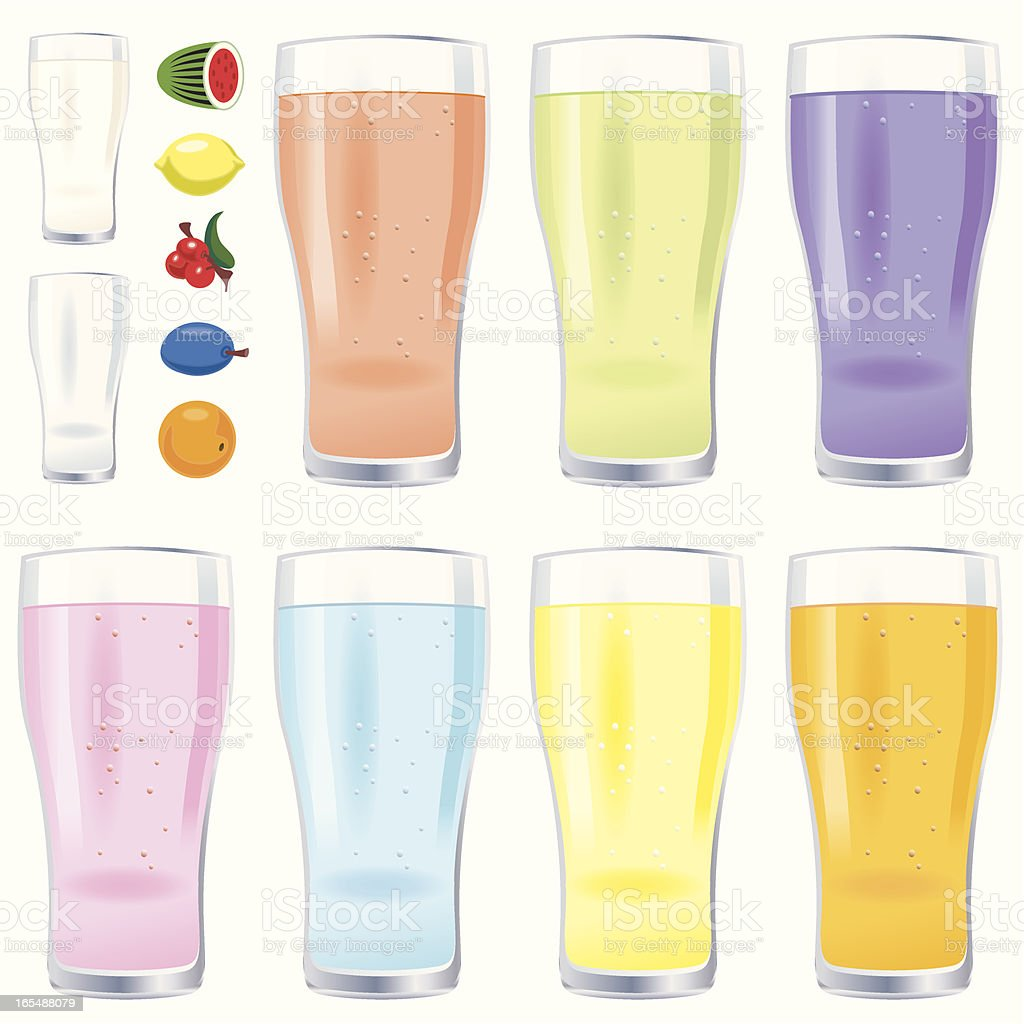 Glassesd of fruit juice and milk royalty-free stock vector art