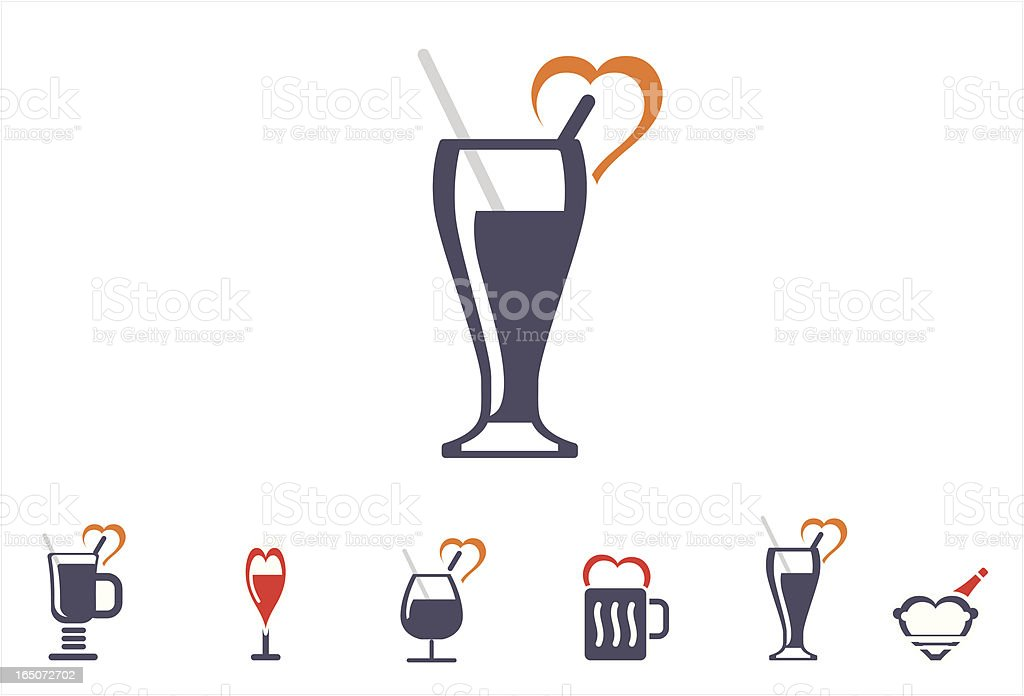 glassware icons-valentine set royalty-free stock vector art