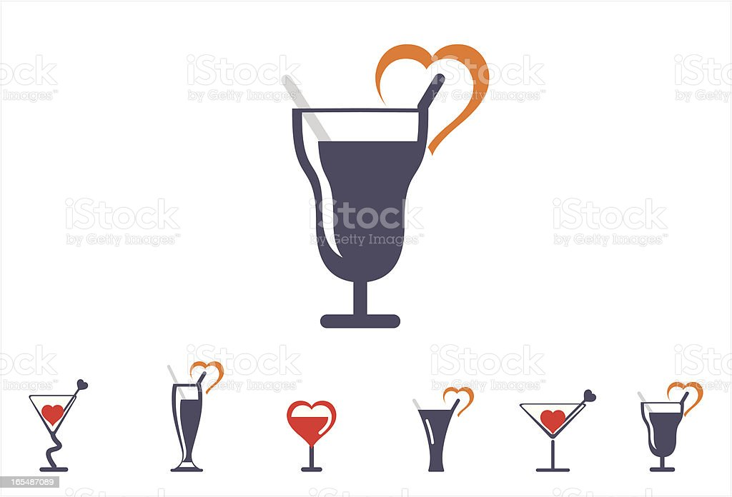 glassware icons-valentine set vector art illustration