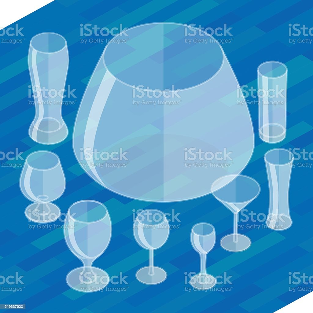 Glassware isometric flat icons set. vector art illustration