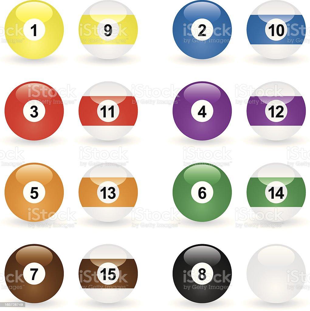Glassy Icon Billiard Balls vector art illustration