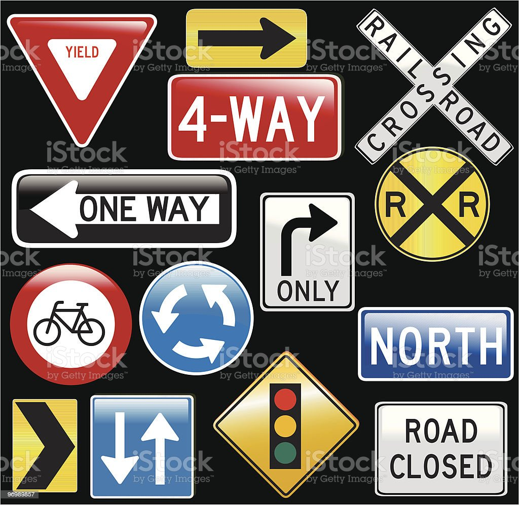 glassy road signs - vector vector art illustration