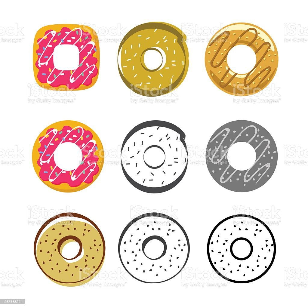 Glazed icing donuts vector icons set isolated on white background vector art illustration