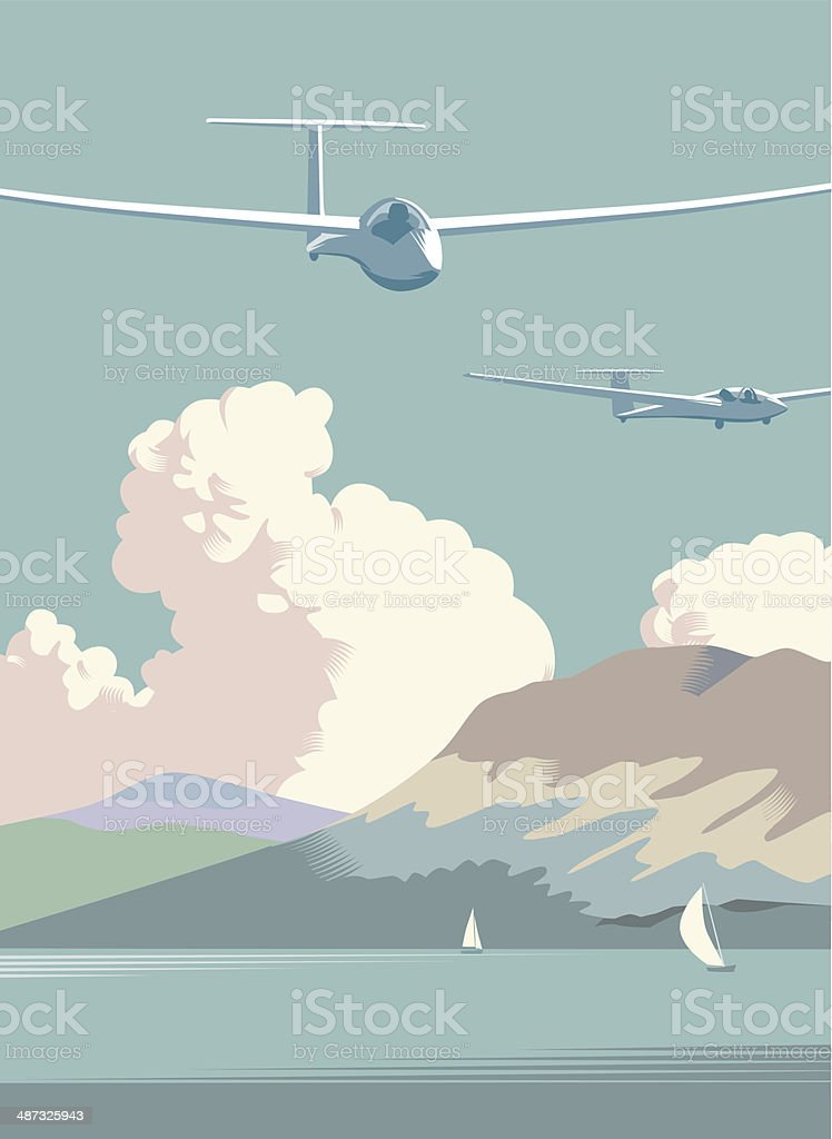 Gliders flying over countryside vector art illustration