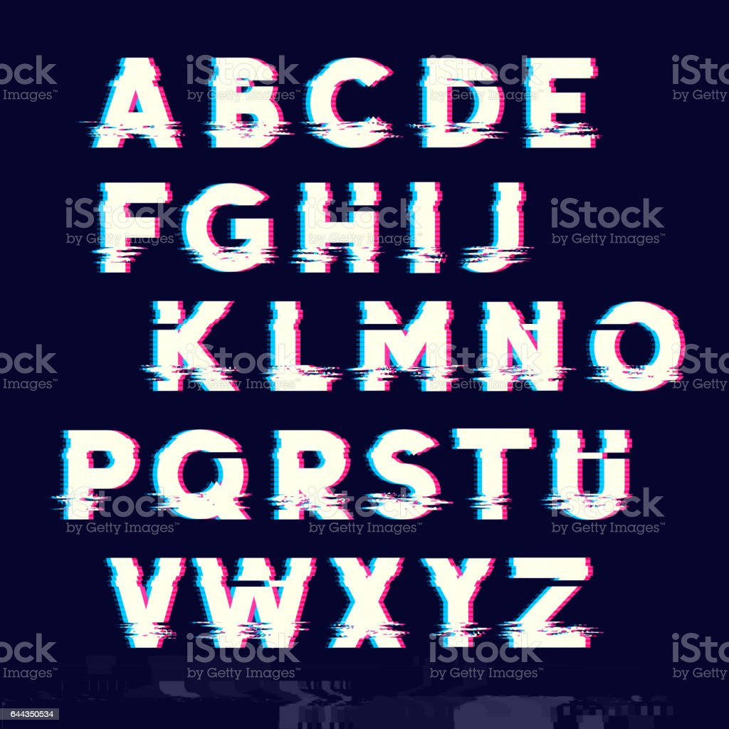 Glitch Letters vector art illustration