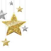 Glitter Background with Silver and Gold Hanging Stars.