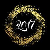 Glitter decoration golden wreath Happy New Year greeting card