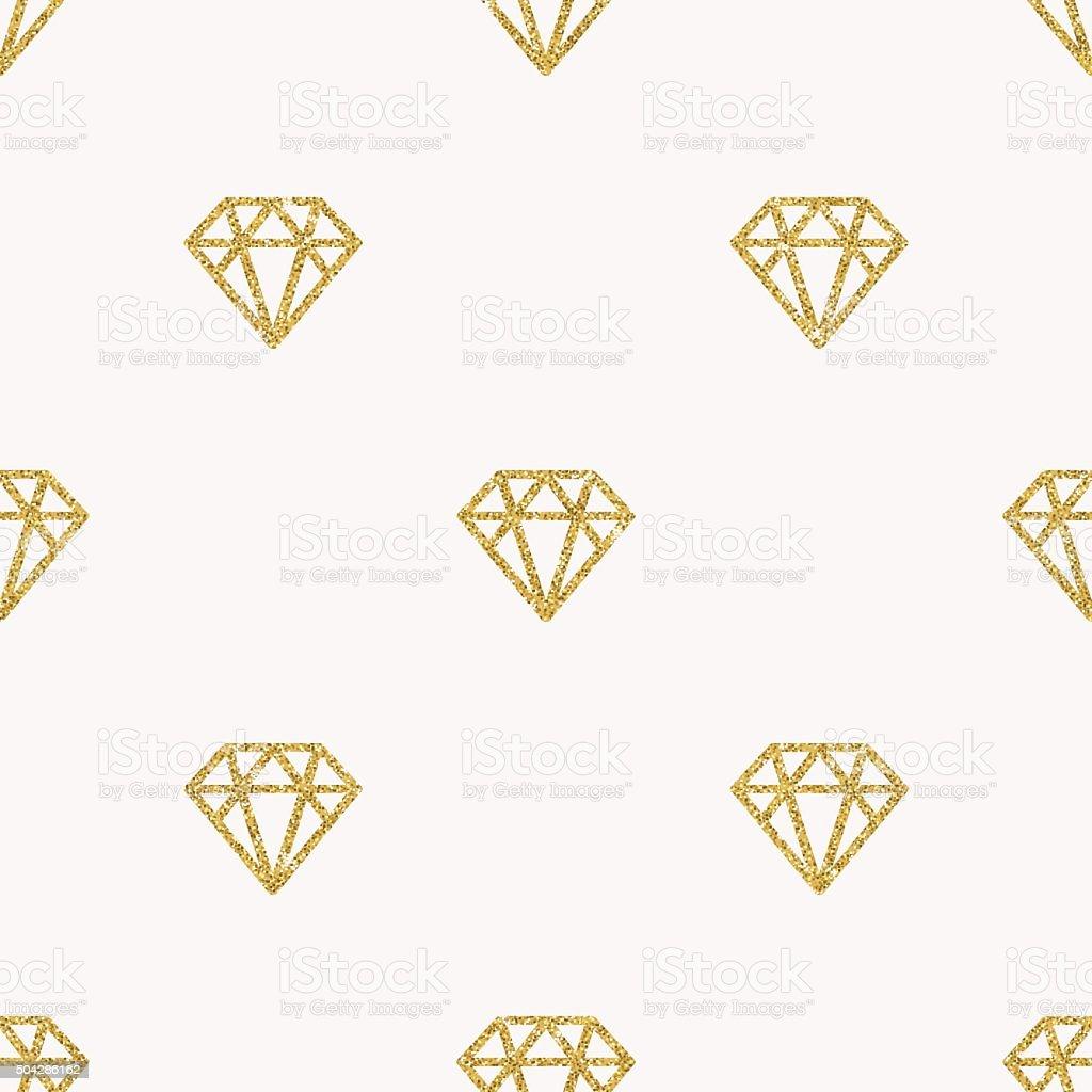 Glitter gold diamonds seamless Background vector art illustration
