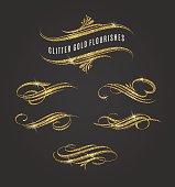 Glitter gold flourishes design elements