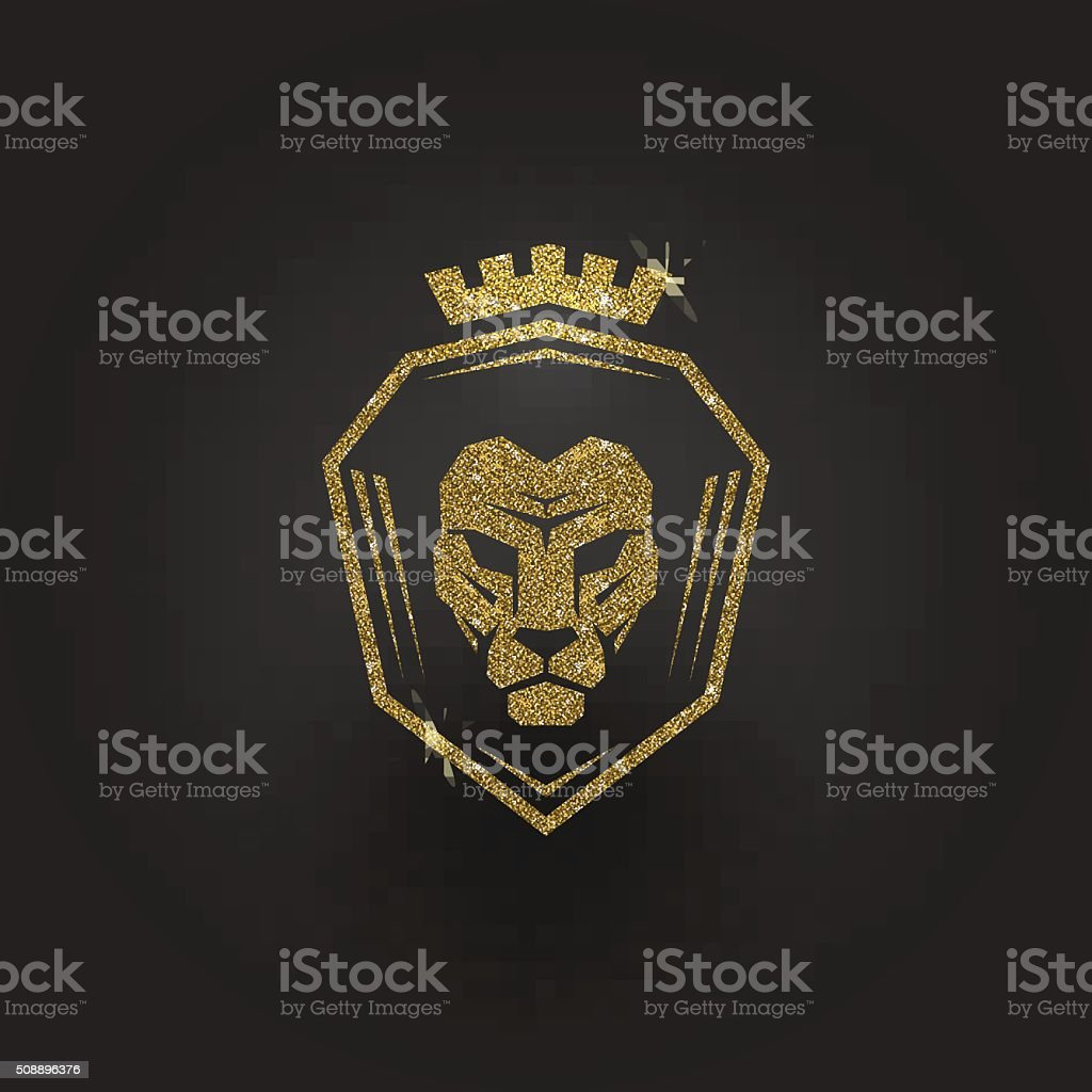 Glitter gold lion logo vector art illustration