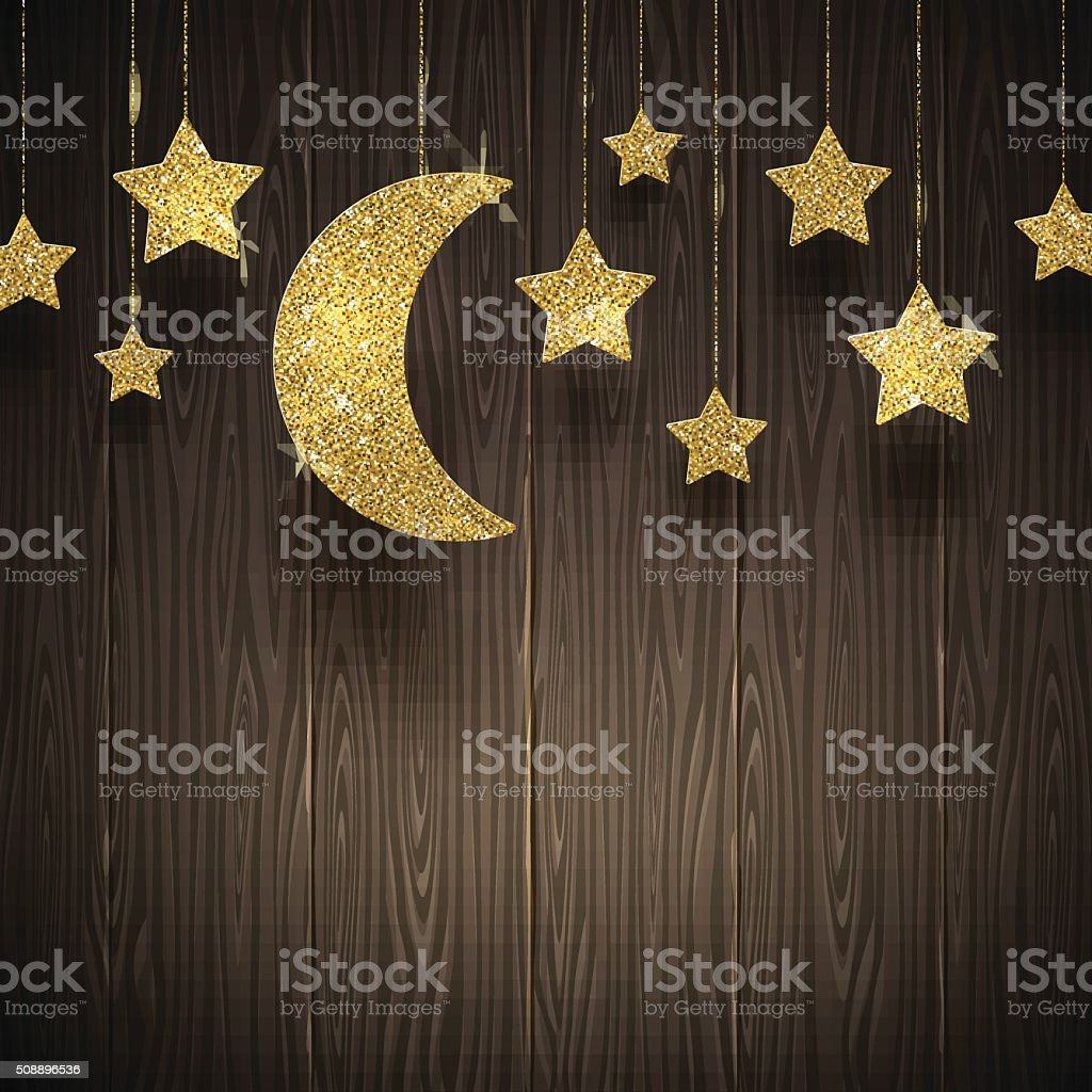 Glitter gold stars and moon on a wooden texture background vector art illustration