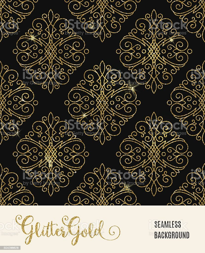 Glitter golden seamless pattern vector art illustration