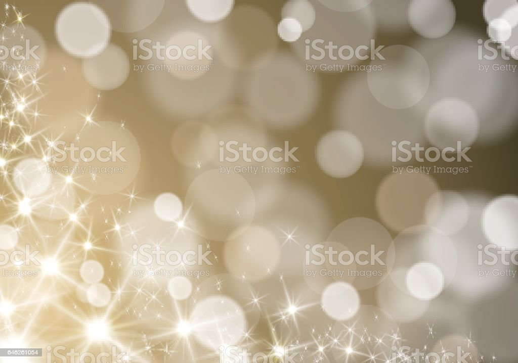 Glitter lights wave on defocused blurred gold background vector art illustration