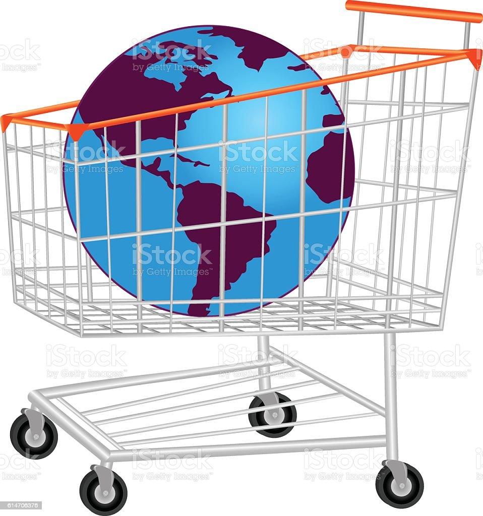 Glob In Shopping Trolley vector art illustration
