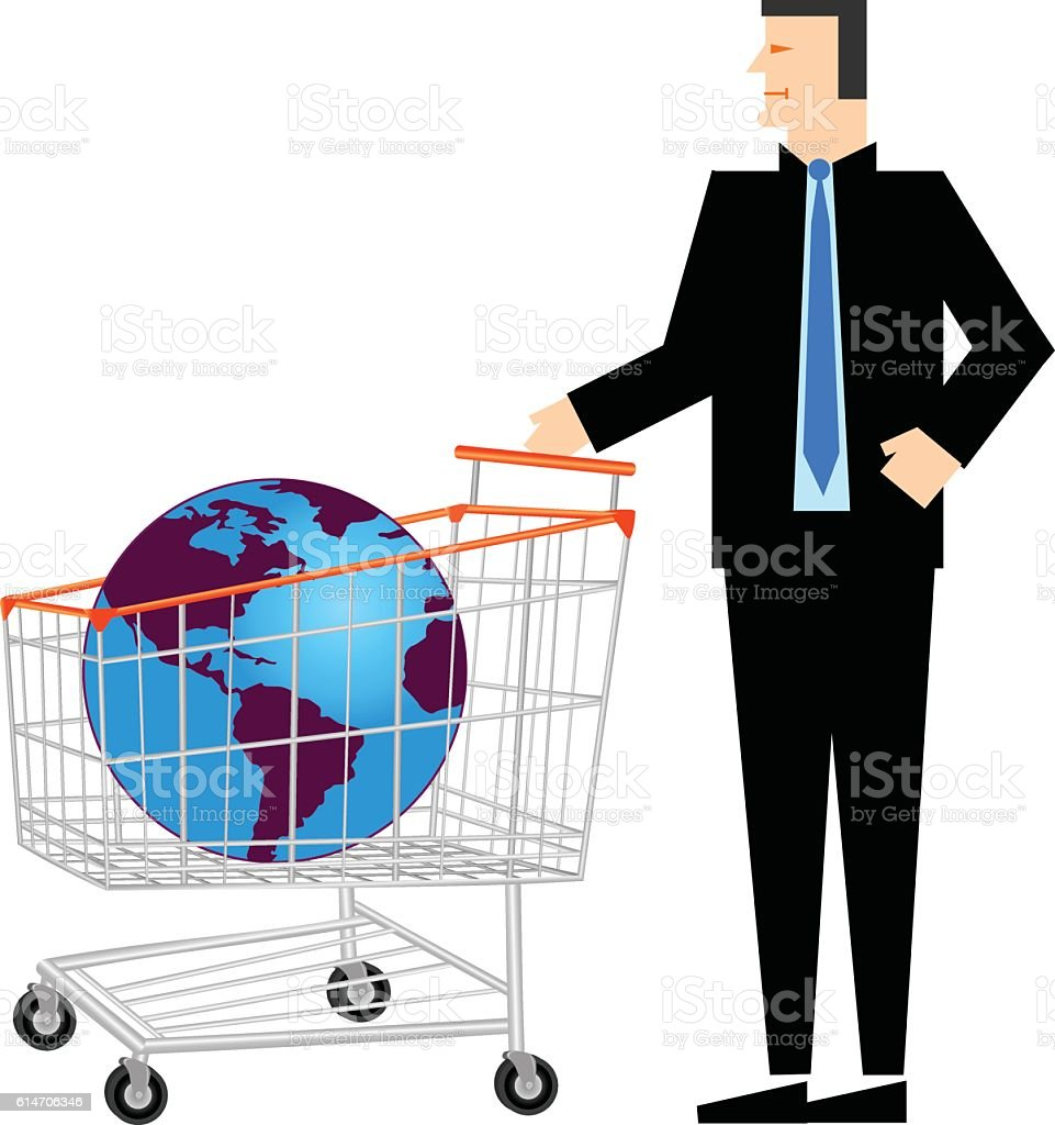 Glob In Shopping Trolley With Businessman vector art illustration