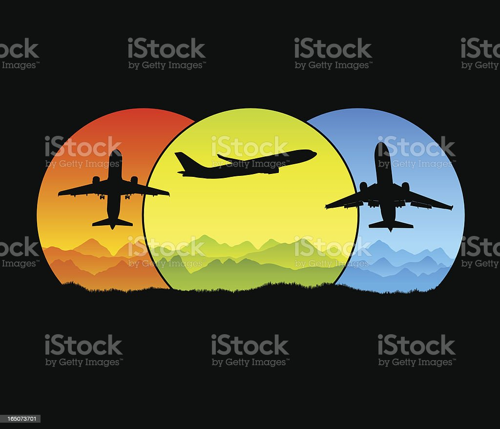 Global air travel royalty-free stock vector art