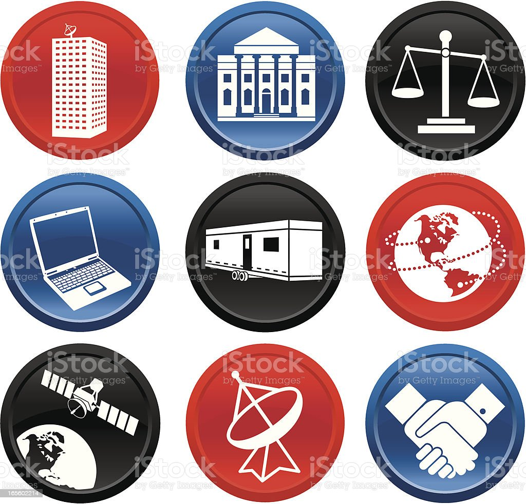 Global Business and Communications Button Series royalty-free stock vector art