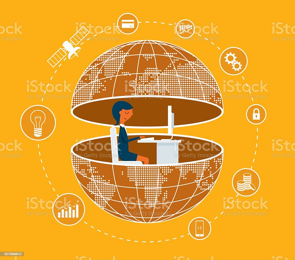 Global Business Communications vector art illustration