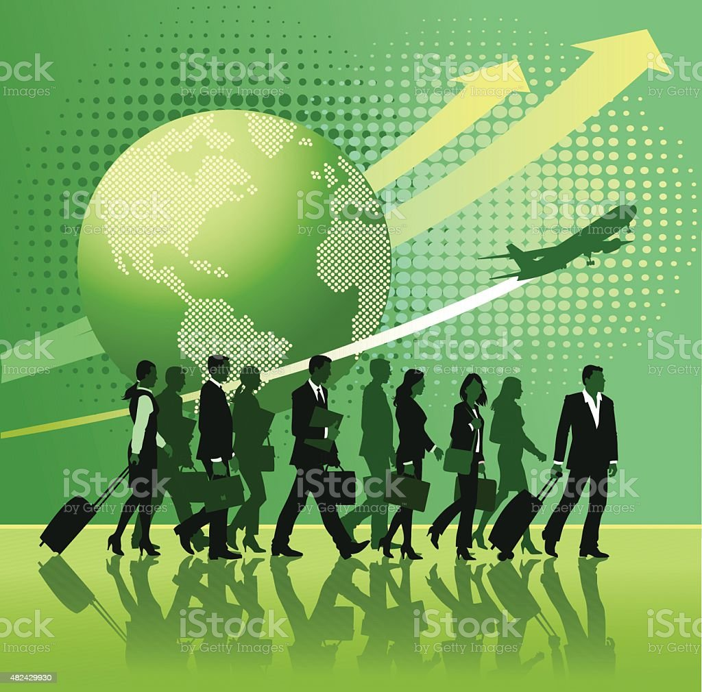 Global Business Travel - Strong Successful Team vector art illustration