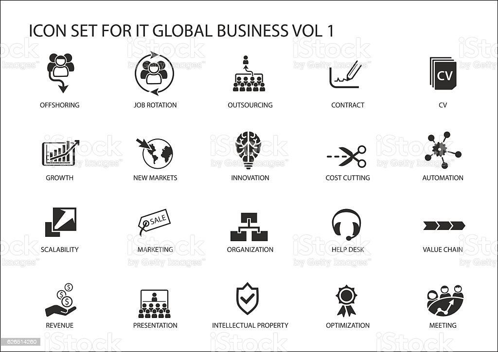 Global business vector icon set vector art illustration