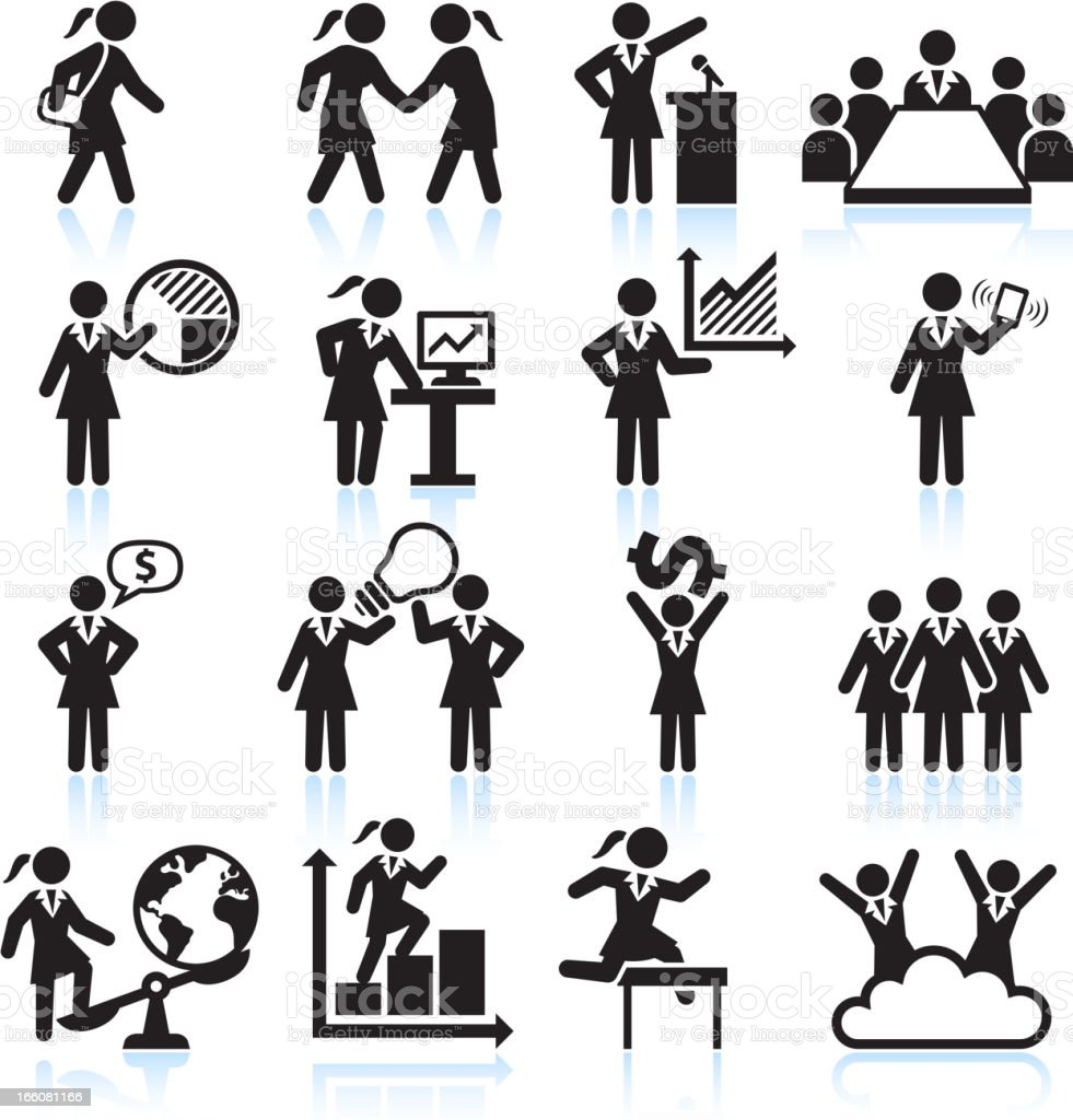 Global Businesswoman Team Presentation black and white vector icon set vector art illustration
