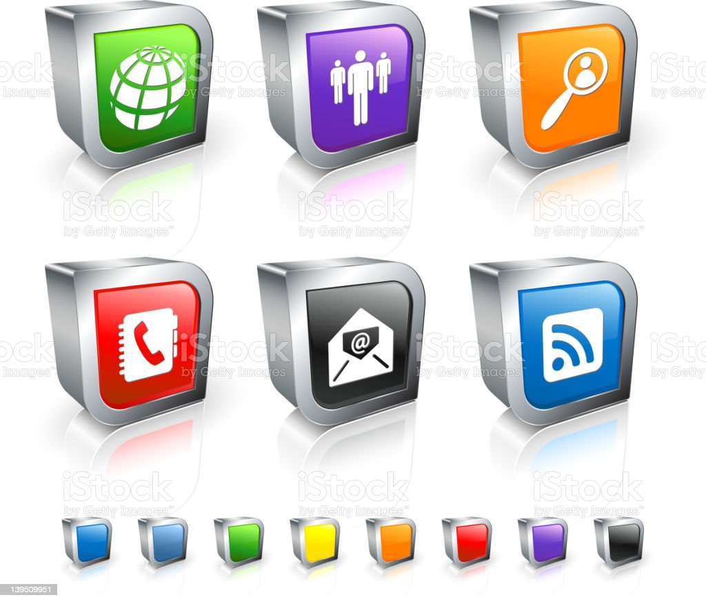 global communication 3D royalty free vector icon set royalty-free stock vector art