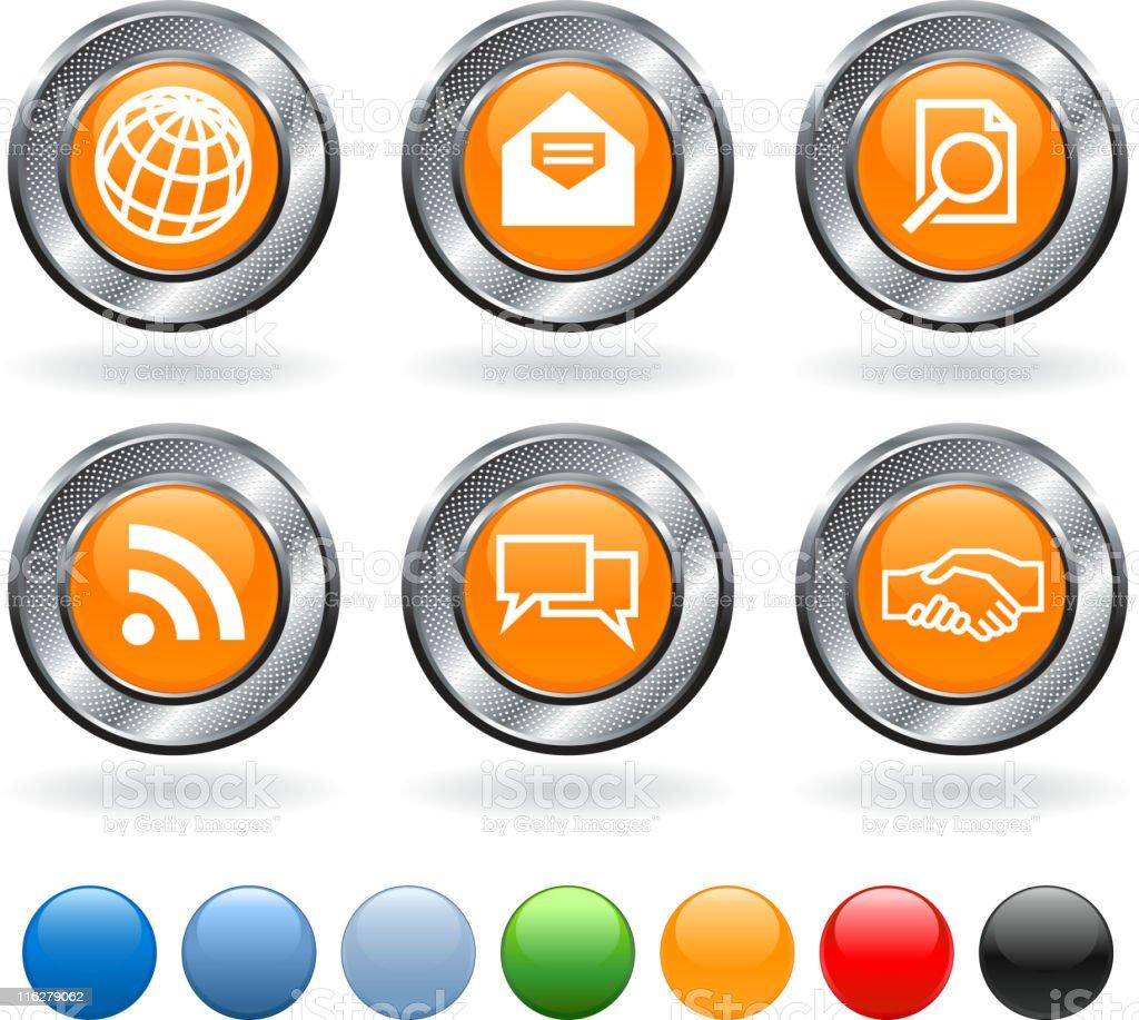 Global communication icon set on metallic button royalty-free stock vector art