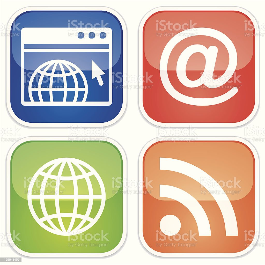 global communication miniset - Quadro Glossy vector art illustration