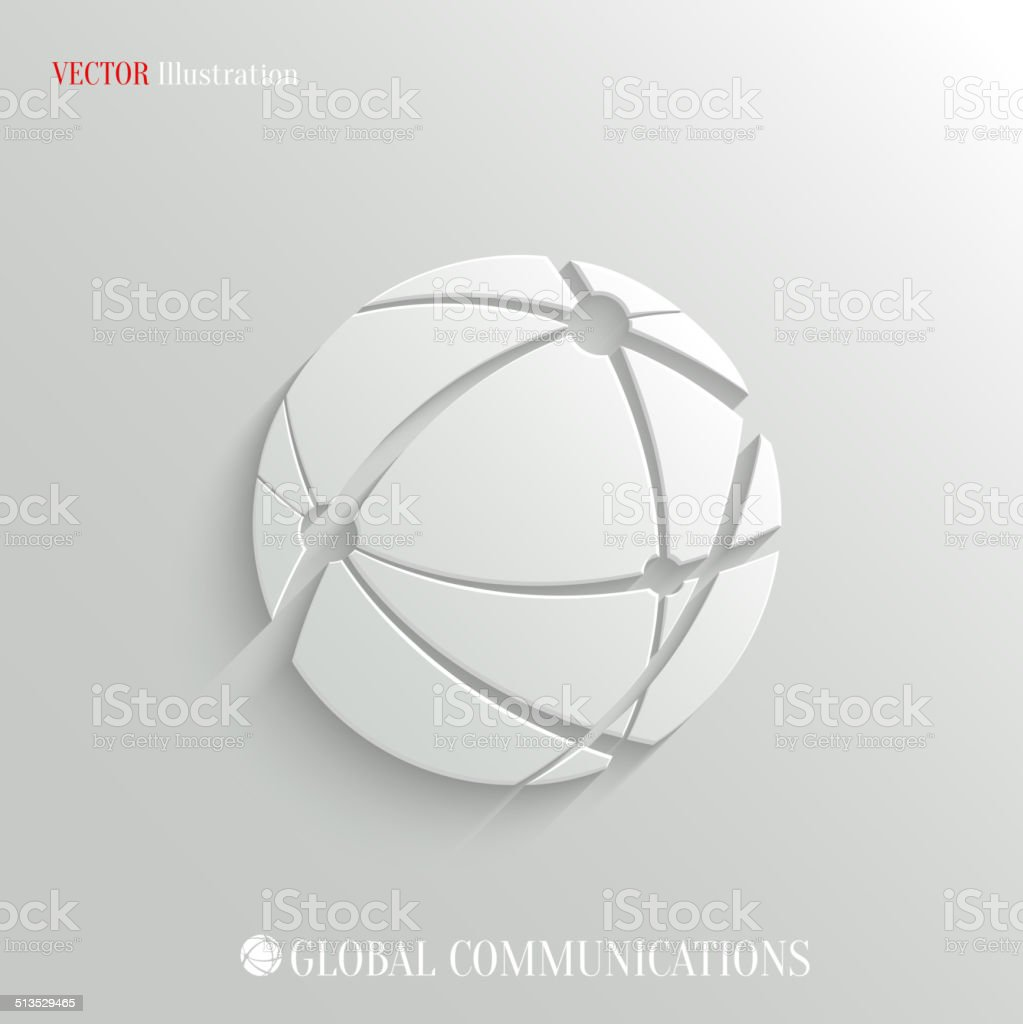 Global communications icon - vector web background vector art illustration
