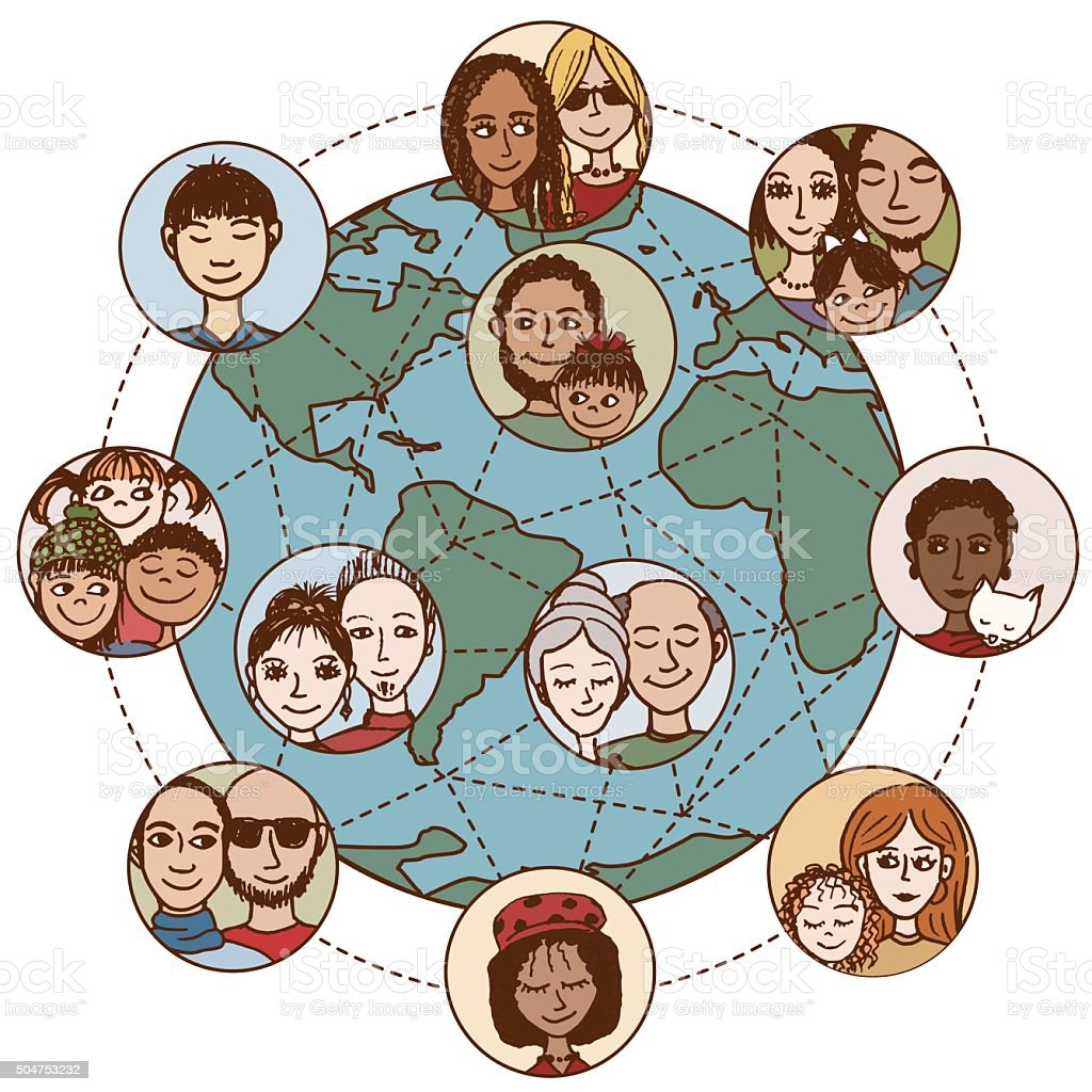Global communications vector art illustration
