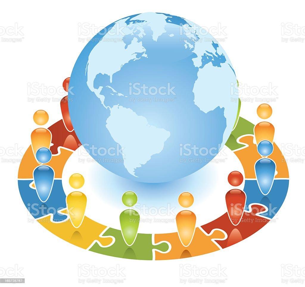 Global Community Jigsaw royalty-free stock vector art