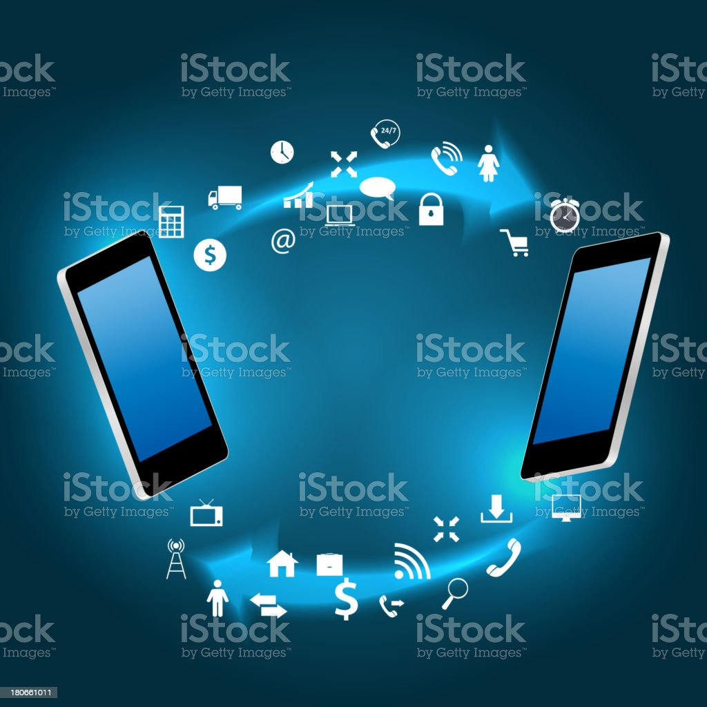Global connecting concept with mobile phone vector illustration royalty-free stock vector art