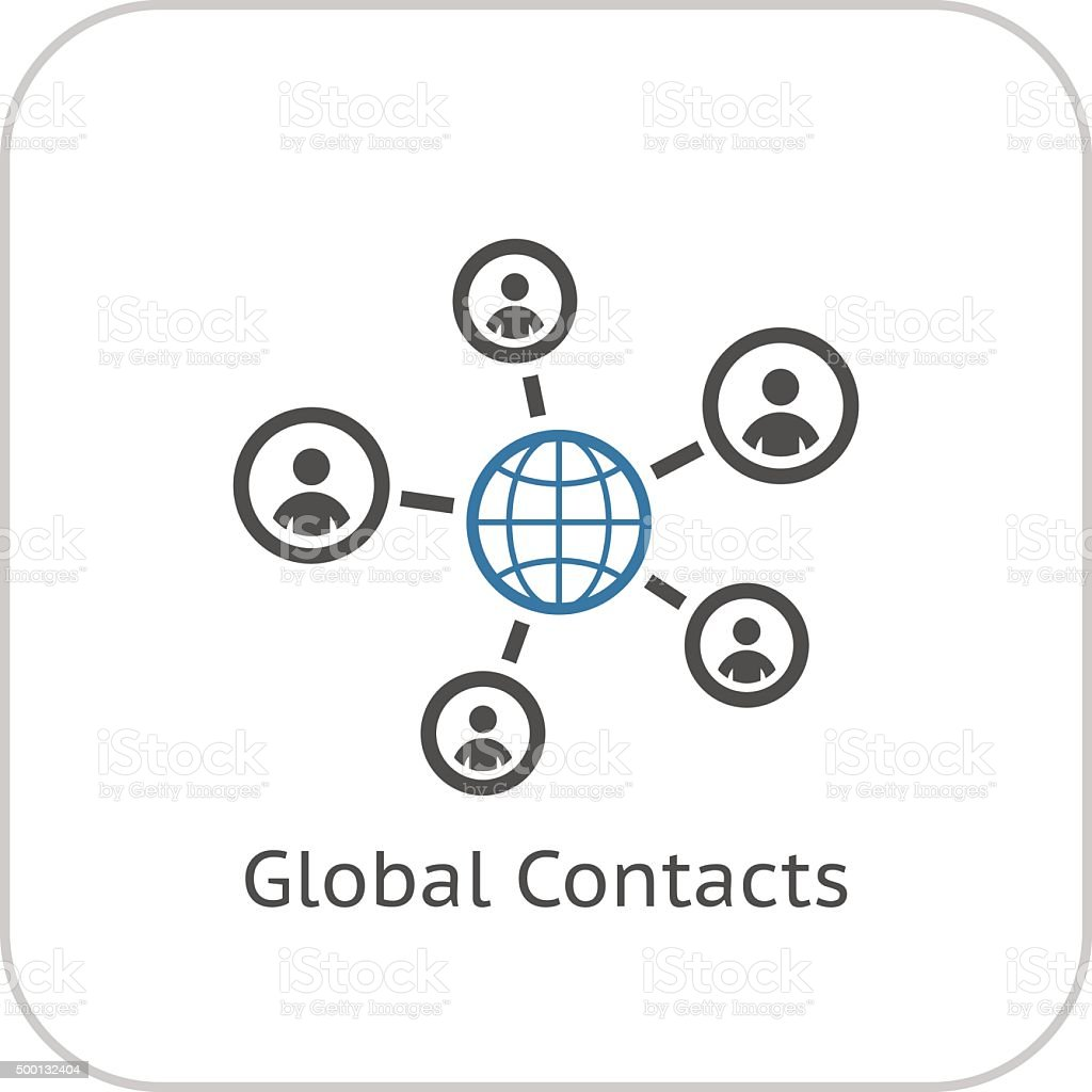 Global Contacts Icon. Flat Design. vector art illustration