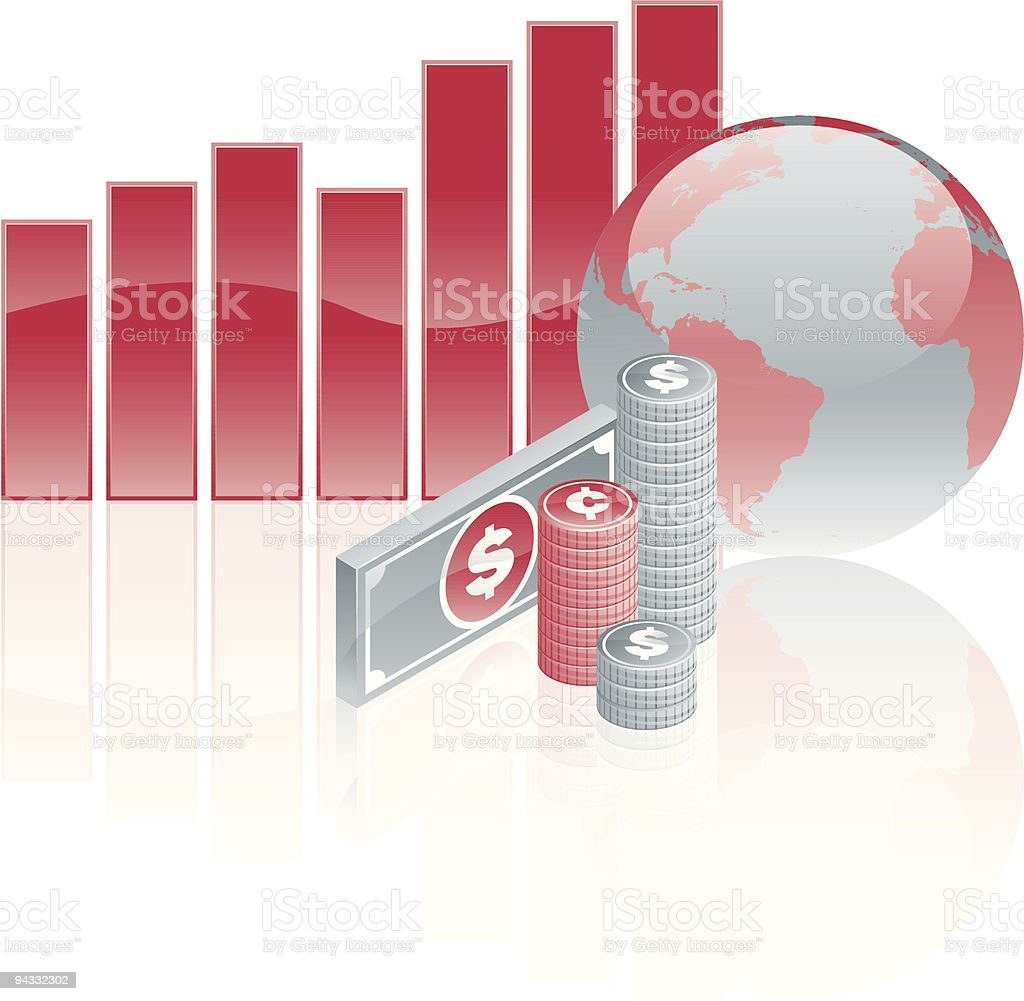 Global Currency Markets: Growth royalty-free stock vector art