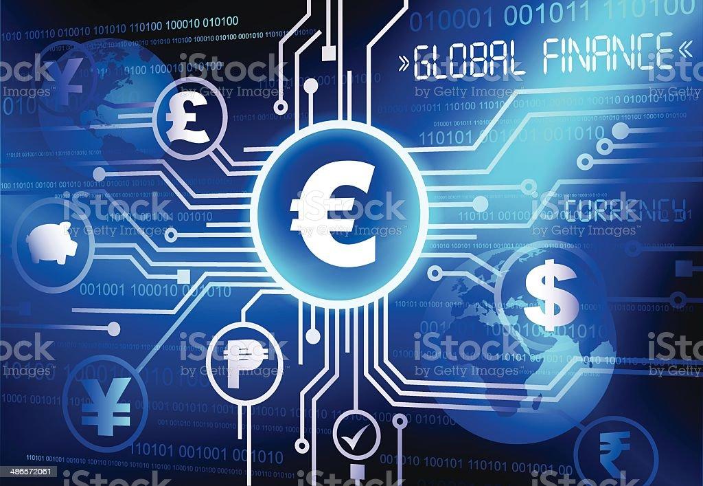 Global currency vector art illustration