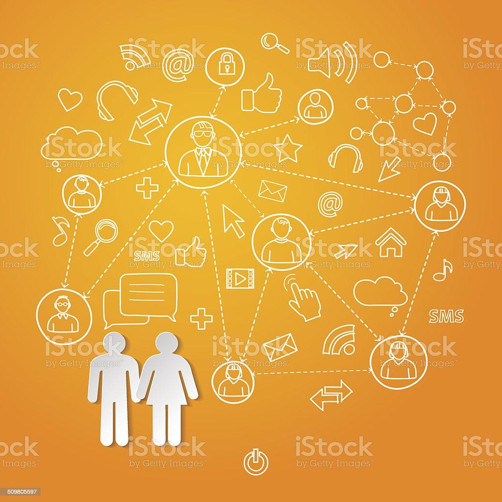 cyberspace Global de rede social conceito vetores vetor e ilustração royalty-free royalty-free
