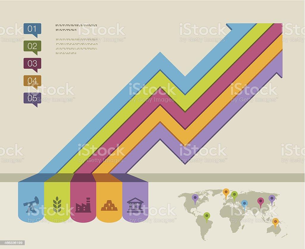 Global economy trends royalty-free stock vector art